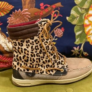 Leather and Leopard Print Calf Hair Sperry Boots